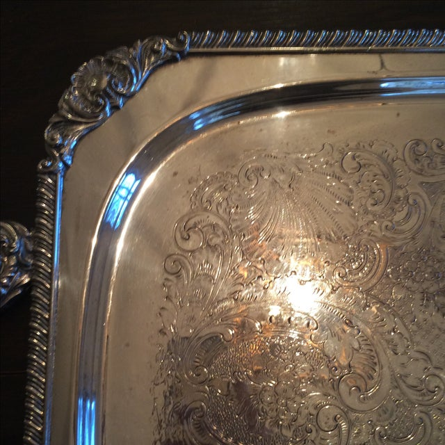 Silverplate Serving Tray For Sale - Image 7 of 11