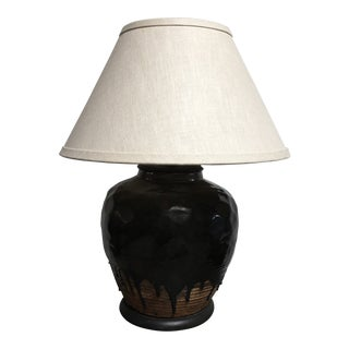 Extra Large Primitive Drip Glaze Ceramic Table Lamp For Sale