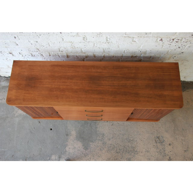 Mid-Century Modern Tambour Door Sideboard Credenza with Glass Front Hutch Top For Sale - Image 9 of 11