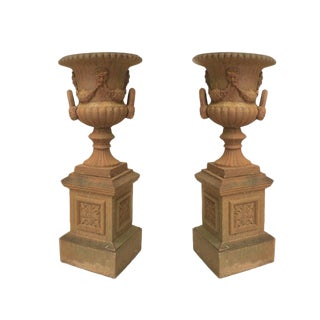 Pair of Large English Victorian Iron Urns For Sale