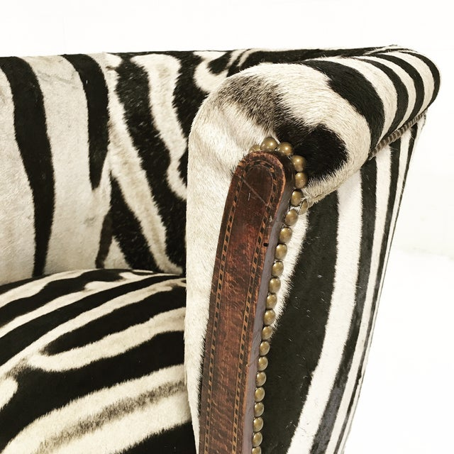 Vintage 1930s Barrel Chair in Zebra Hide - Image 9 of 11