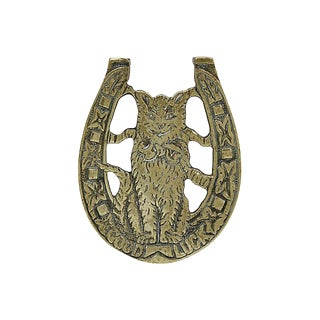 Antique Brass Good Luck Cat Trivet For Sale