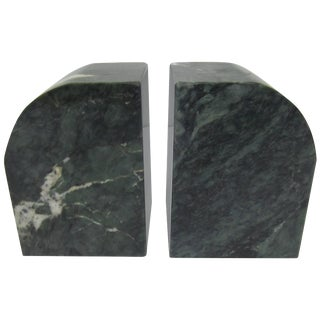 Pair Italian '70s Modern Green and White Marble Bookends For Sale