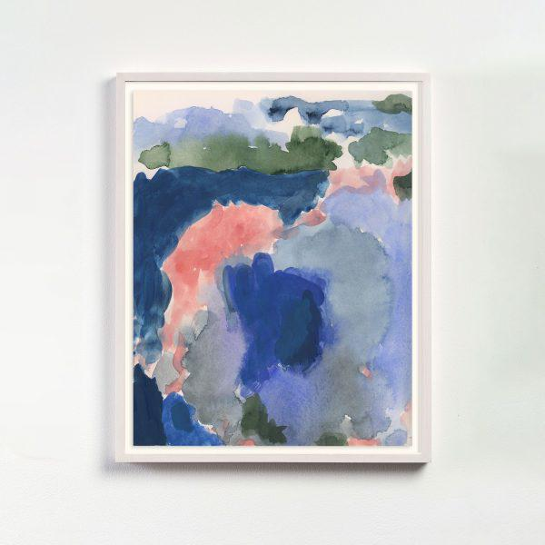 A large field of color washes in a palette of watery blues and warm pinks dominate this modern abstract print. This...