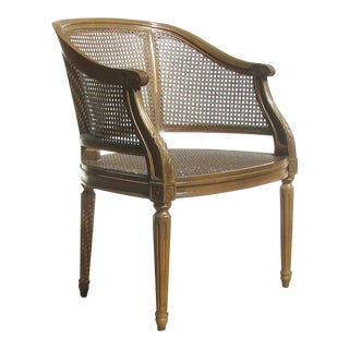 Vintage French Style Barrel Back Cane Chair For Sale