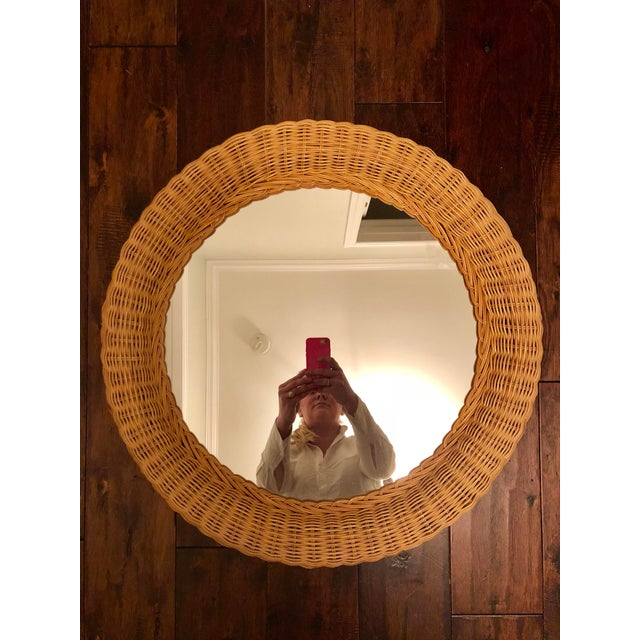 Vintage Natural Wicker Round Circle Mirror - Image 5 of 7