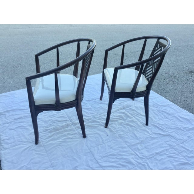 1980s Chinoiserie Curved Barrel Back Armchairs - a Pair For Sale In West Palm - Image 6 of 7