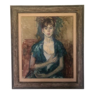 Vintage Framed Portrait of a Girl by Moses Soyer, For Sale