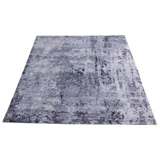 Transitional Handmade Purple Wool and Bamboo Silk 9'x12' Rug
