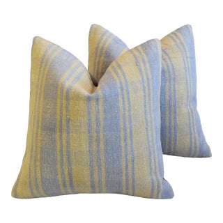"Lavender & Yellow Plaid Turkish Carpet Feather/Down Pillows 20"" Square - a Pair For Sale"