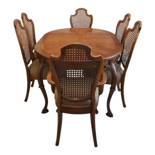 French Provincial Dining Room Table and Cane Back Chairs -Dining Set For Sale