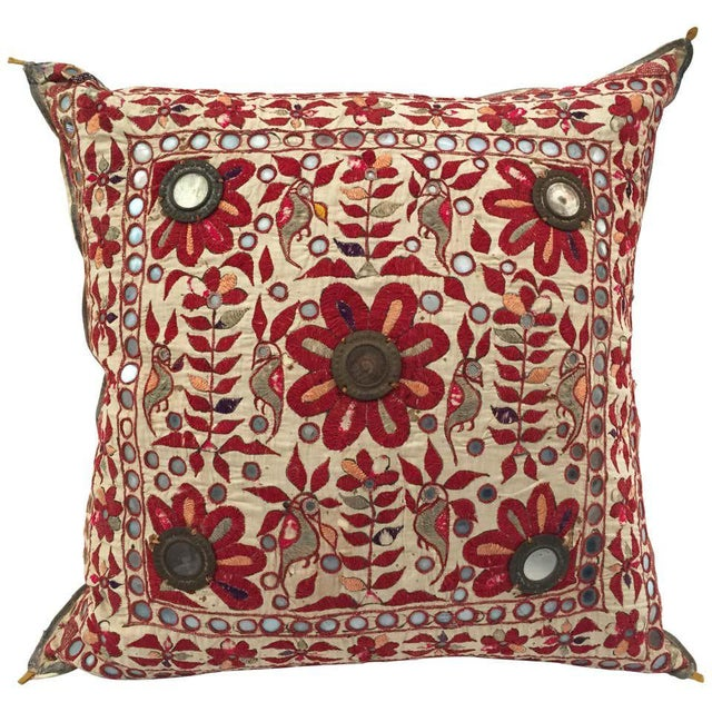 19th Century, Rajasthani Colorful Embroidery and Mirrored Decorative Pillow For Sale - Image 11 of 11