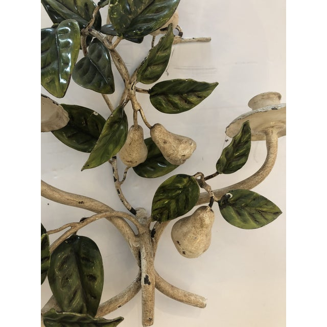 Ivory Tole & Iron Painted Pear & Leafy Wall Sconces - a Pair For Sale - Image 8 of 13
