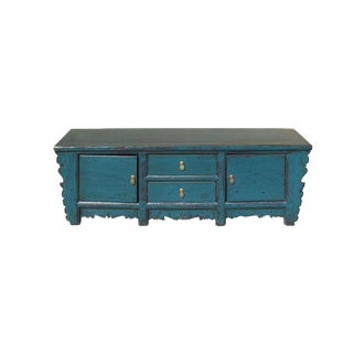 Oriental Distressed Rustic Teal Blue Lacquer Low Console Table Cabinet For Sale