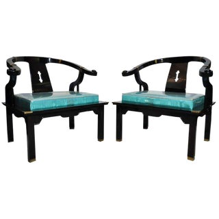1970's Vintage James Mont Style Black Lacquer Ming Chairs - A Pair For Sale