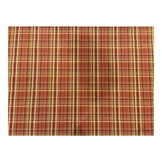 Robert Allen Red and Gold Plaid Fabric in Cotton, Viscose and Nylon For Sale