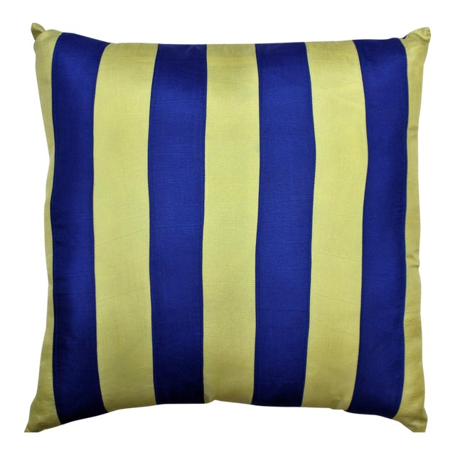 Royal Blue & Yellow Racing Stripe Silk Pillow - Image 1 of 3
