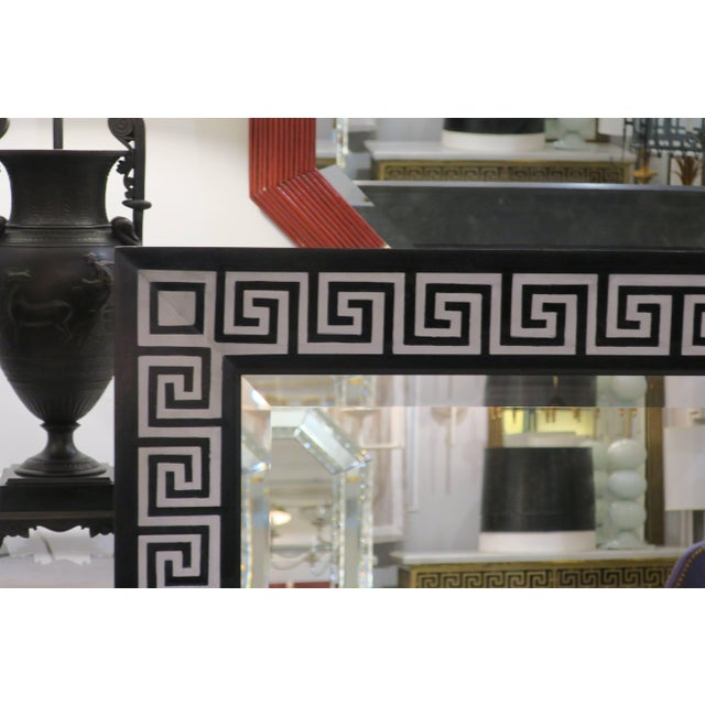 Bespoke Hand-Decorated Greek Key Pattern Mirrors - a Pair For Sale - Image 4 of 7