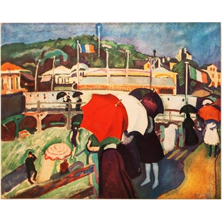 "1940s Raoul Dufy, Original Swiss Period ""Promenade at Honfleur"" Lithograph For Sale"