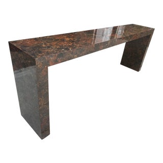 Vintage 1970s Faux Marble/Tortoise Shell Formica Parsons Console Table For Sale