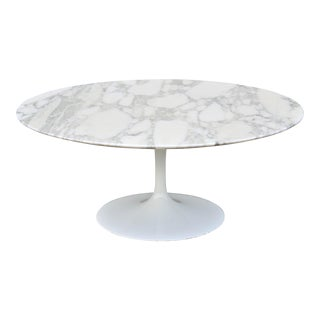 "1956 Mid-Century Modern Eero Saarinen for Knoll 36"" Round Marble Coffee Table"