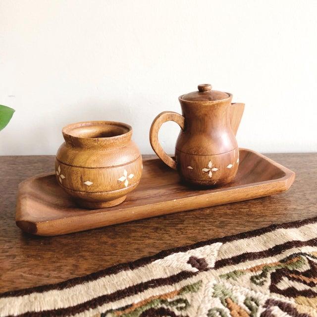 Indian Vintage Indian Wooden Creamer and Sugar Set - Set of 3 For Sale - Image 3 of 7