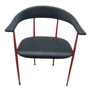 Vintage Mid-Century Danish Modern Metal Barrel Arm Chair For Sale