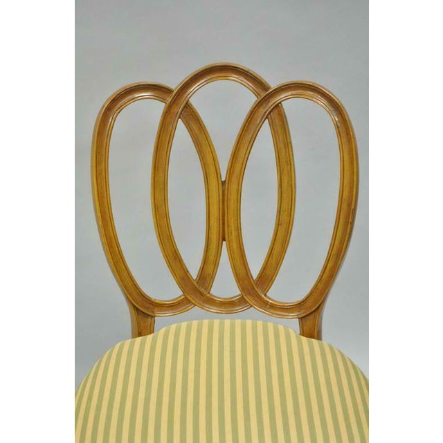 1950s Vintage French Provincial Triple Oval Pretzel Back Walnut Dining Chairs- Set of 6 For Sale - Image 4 of 11