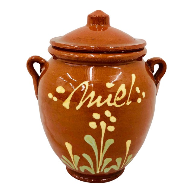 Vintage French Hand Painted Terra Cotta Clay Pottery Mustard Jar For Sale