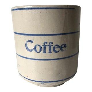 "Antique Salt Glazed ""Coffee"" Pottery Crock For Sale"