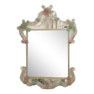 Italian Murano Etched Mirror For Sale