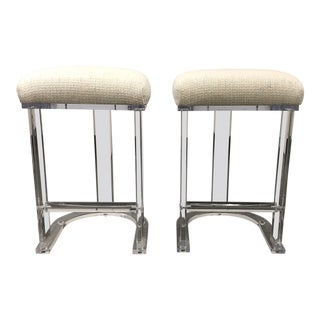 Pair of Carmichael Designs Lucite Counter Stools For Sale
