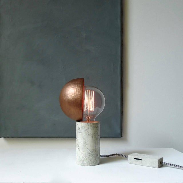 Marble table lamps, Sander Bottinga Base in different kinds of marble hand-hammered copper shade movable around light...