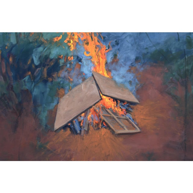 "Stephen Remick ""Burning Old Paintings"" Contemporary Painting by Stephen Remick For Sale - Image 4 of 13"
