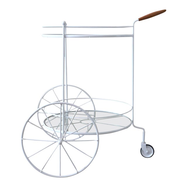 White Vintage Indoor Outdoor Patio Bar Cart with Wooden Handle For Sale
