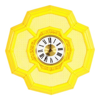 Vintage Hollywood Regency Chinoiserie Yellow Faux Bamboo Wall Clock For Sale