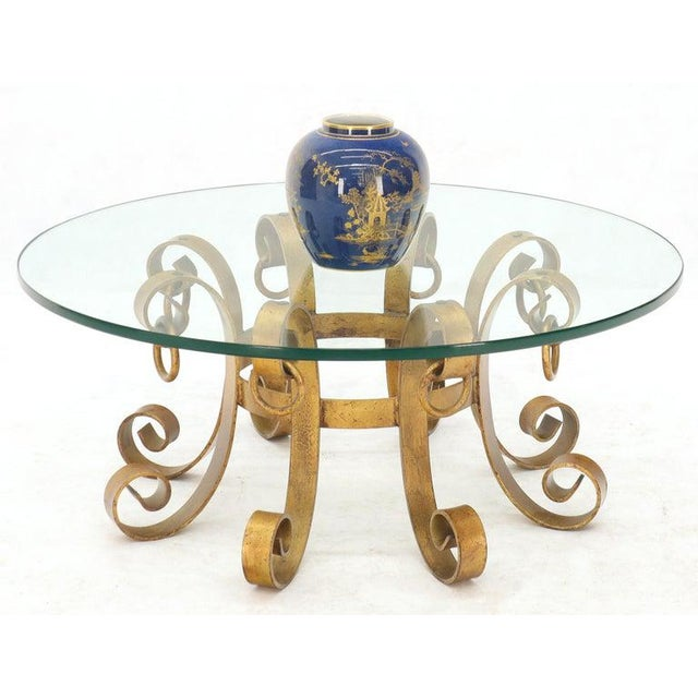 Metal Round Decorative Gilt Wrought Iron Base Glass Top Sunburst Coffee Table For Sale - Image 7 of 13
