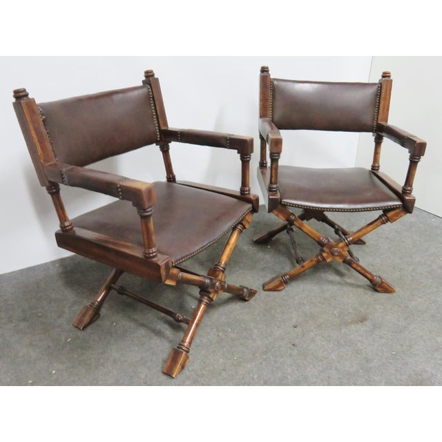 Mid Century Regency Directors Style Chairs- a Pair For Sale In Philadelphia - Image 6 of 6