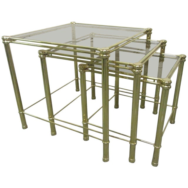 Brass Nesting Tables Attributed to Maison Raphael For Sale