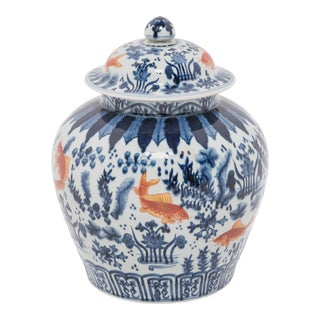 Chinese Underglaze Indigo and Copper Fish Jar For Sale