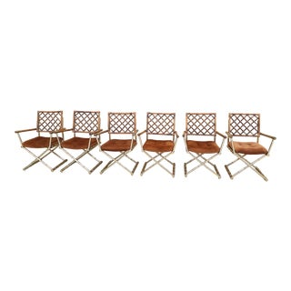 Faux Bamboo Brass & Rattan Directors Chairs - Set of 6