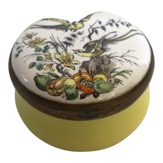 1980s Vintage Painted Bone China Collectible Round Hinged Box Made in England—Birds, Flowers, Seeded Veggies For Sale