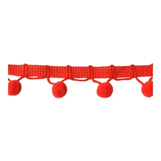 Vintage Red Pom Pom Upholstery Trim For Sale