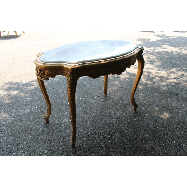 French 20th Century Louis XVI Center or Coffee Table With Marble Top For Sale - Image 3 of 6