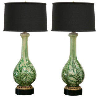 A Pair of Green Reverse Painted Glass Lamps
