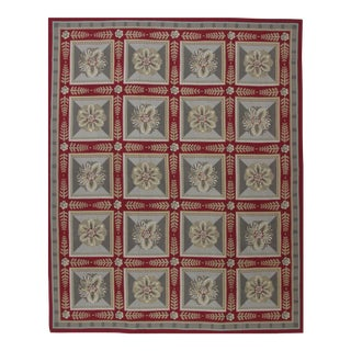 Needlepoint Design Hand Woven Wool Rug - 9' X 12' For Sale