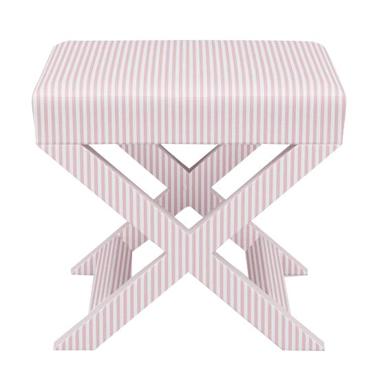 X Bench in Pink Ticking Stripe For Sale