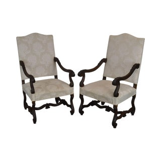 French Louis XIII Style Antique Carved Pair Armchairs For Sale