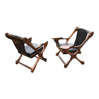 Pair of Don Shoemaker 'Swinger' Rosewood Leather Chairs