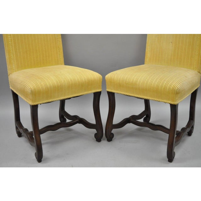 Early 20th Century Walnut Os De Mouton Louis XIV French Style Upholstered Dining Chairs- Set of 10 For Sale In Philadelphia - Image 6 of 12